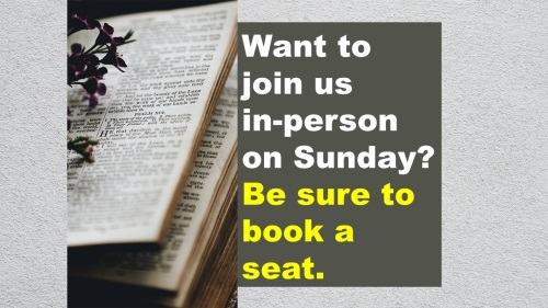 Join us on Sunday - book a seat.